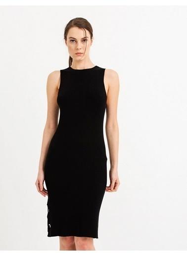 Mimoza Kuş Gözü Detaylı Triko Elbise-Bordo Siyah